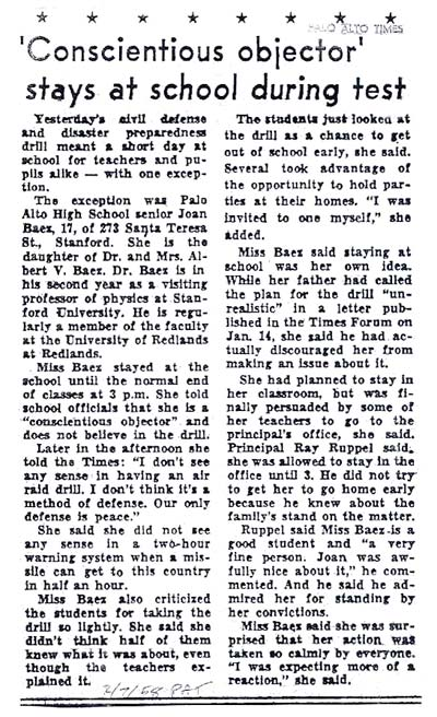 Palo Alto Times 1958: Joan Baez Protests High School Air Raid Drill