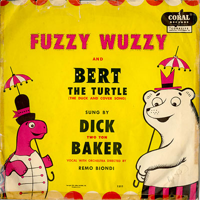 Dick 'Two Ton' Baker's 'BERT THE TURTLE' 78 rpm record sleeve