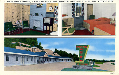 Greystone Motel, 1 mile west of Portsmouth, Ohio on U.S. 52, the Atomic City