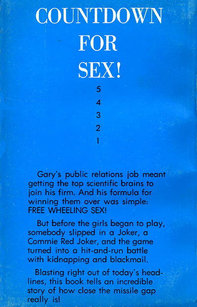Roger Blake's CAPER AT CANAVERAL back cover - Countdown for Sex!
