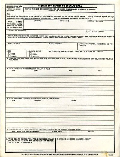 Request for Report on Loyalty Data Standard Form 84A, August 4, 1947