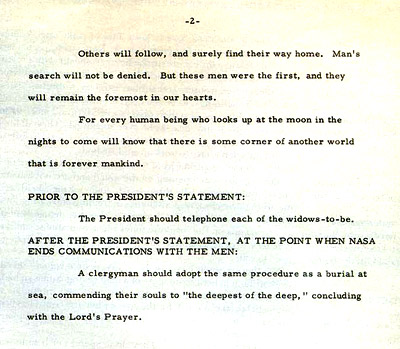 William Safire memo for use by President Nixon in the event of a disaster on the Apollo 11 lunar landing mission