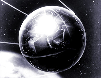 An animation sequence of Sputnik in orbit